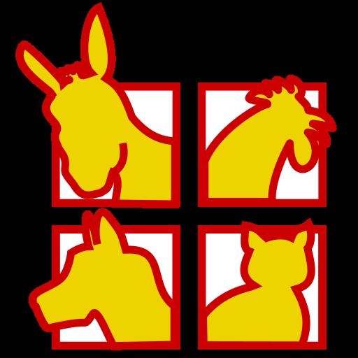 Logo de Bremenianos -  Las cabezas del Burro, gallo, perro y gato en recuadros, en colores rojo y amarillo. Todos los derechos reservados | Taisa-Designer.com